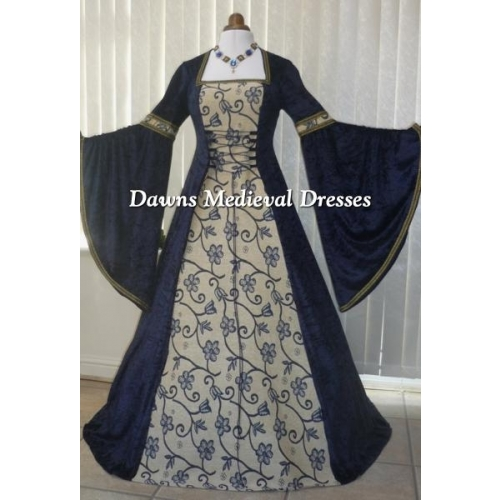 Renaissance Medieval Wedding Dress Navy blue Tapestry